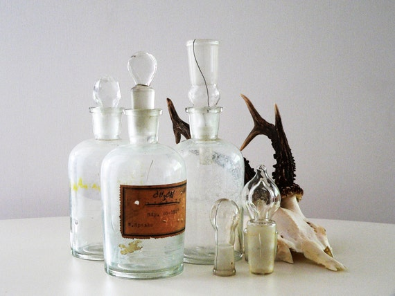 A N T I Q U E  German Apothecary Glass Bottles With Different Blown Lids- Set of 3