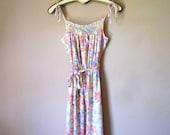 Vintage Prairie Floral Print Midi Sun Dress
