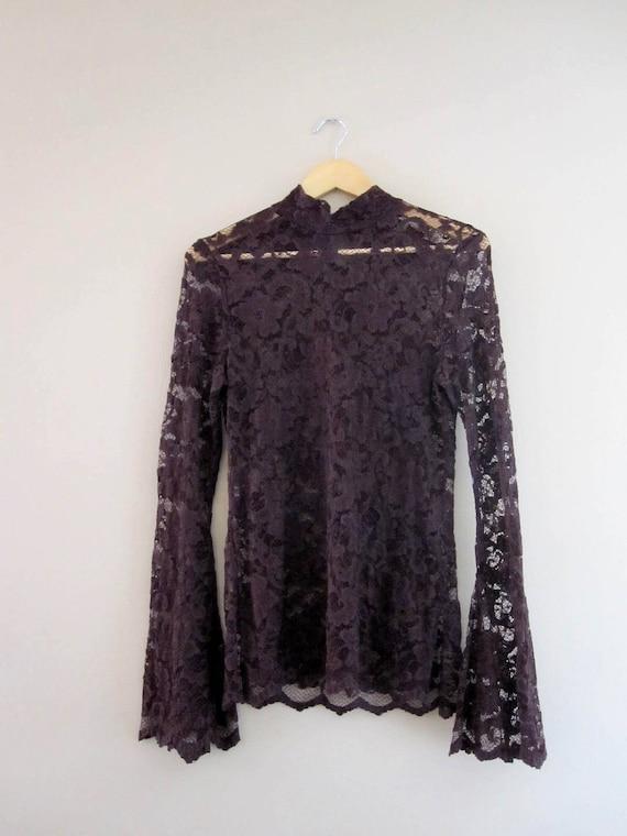 S A L E // Vintage Chocolate Lace Body Con Tunic
