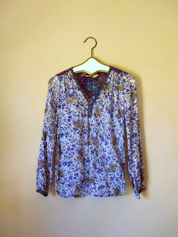 Stunning Vintage Indian Cotton Smocked Blouse