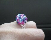 Cocktail Crystal Ring blue pink and purple, Beaded crystal ring