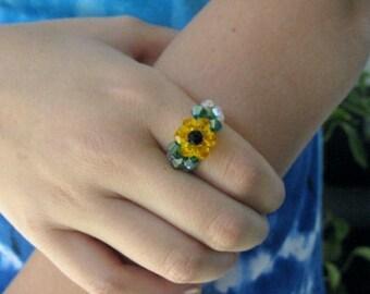 Sunflower Crystal Beaded Ring, Sunflower ring, sunflower jewelry, sunflower, sunflowers, crystal sunflower