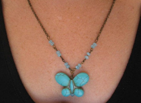 Turquoise Butterfly Necklace . Gemstone . Butterfly Necklace .  Vintage Inspired  Ready to ship
