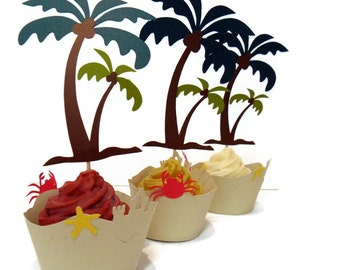 Hawaiian Cupcake Wrappers AND Toppers - Set of 24