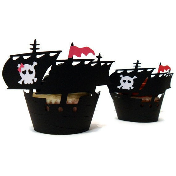 pirate ship cupcake wrappers set of 12