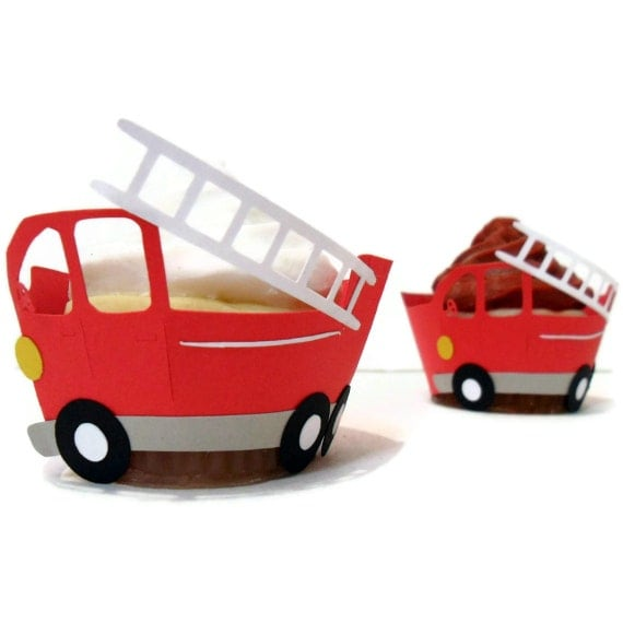 Firetruck Cupcake Wrappers -set of 12