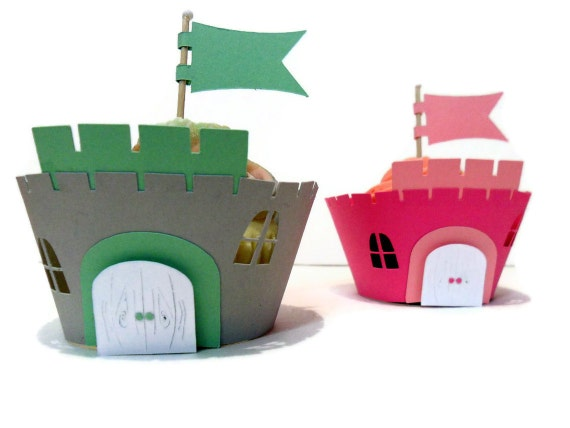 Cupcake Wrappers Castle Wrappers AND Toppers - set of 24