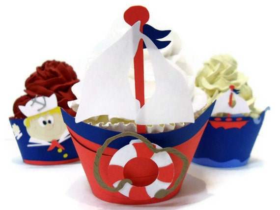 Sailboat Cupcake Wrappers - Set of 12