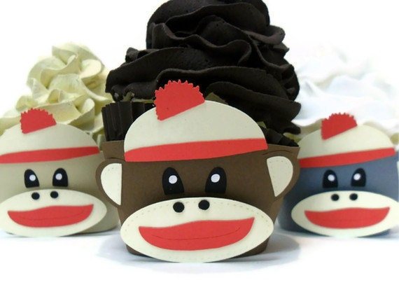 Sock Monkey Cupcake Wrappers - Set of 12