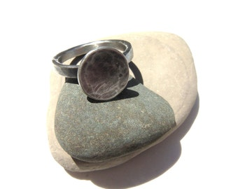 Chunky Round Focal point Silver Ring. Hammered Texture. Organic Minimalist Style in Sterling Silver