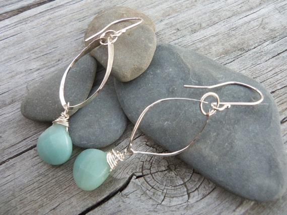 Faceted Amazonite Tear drop Earrings. Hammered & Twisted Sterling Silver Marquise shapes