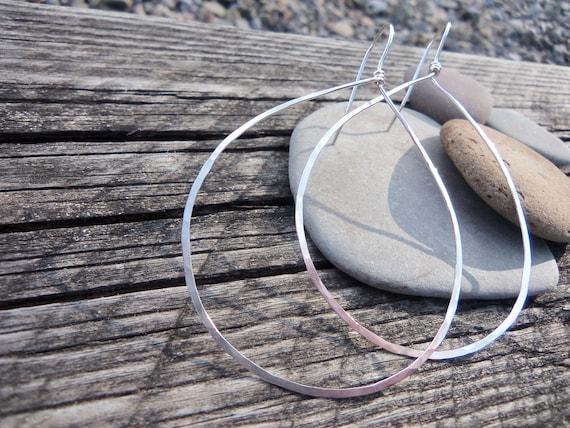 Hammered Silver Hoop Earrings, Sterling Silver Big Loop Earrings