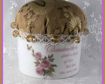 PINCUSHION Victorian Pin Keep Porcelain Grandmothers Remembrance Mothers Day