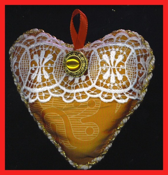 Lavender  SILK HEART Sachet Red Gold Lace Ring Pillow OOAK