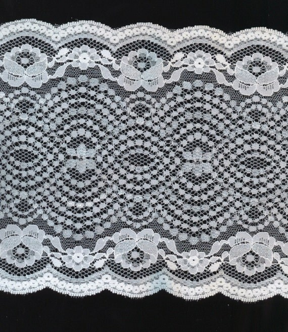 WHITE LACE Extra BIG Double Side Scalloped 6-1/2 Inches wide Per Yard Listing
