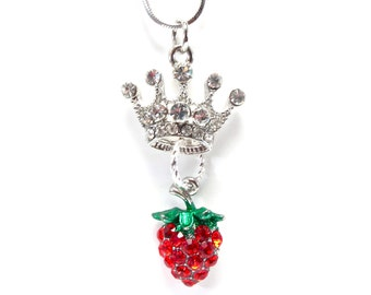 ZTA Crown and Strawberry Necklace - Zeta Tau Alpha Greek Soority - Big / Little Gift - Five Pointed Crystal Crown with Strawberry Accent