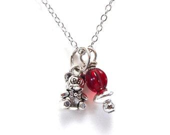 Alpha Phi Bear - Teddy Bear Necklace - Greek Sorority Jewelry - Silver and Bordeaux -  Phi Bear - Big Little Gift