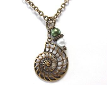 Kappa Delta Nautilus Pendant Necklace - KD Nautilus Shell Jewelry - Antique Gold Ammonite Necklace - Sorority - Greek - Nautical - Jewelry