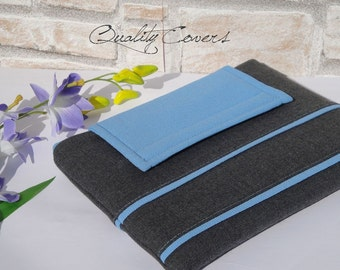 Tablet  and Laptop Customizable for Color Fabric and Size - Sleeve - Cover- Case - Fully PADDED - exterior POCKET - WATERPROOF lining