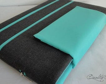 Customizable laptop sleeve / laptop case / laptop cover - any Size and Color Fabric / PADDED / extra POCKET with zipper -  Waterproof lining