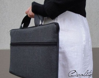 TOTE or BRIEFCASE bag (choose) Customizable for Color Fabric and Sizes Laptop Bag-fully PADDED bag-Waterproof lining-exterior Large pocket