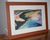Original Landscape Painting, Framed, Ice on the River, Providence, Rhode Island