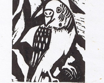 Parakeet Linocut artist-pulled print, Signed and Numbered Limited Edition Bird