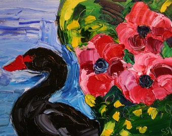 """Original Oil Painting on Canvas, Black Swan with Flowers, Expressionist Art, 9"""" x 12"""""""