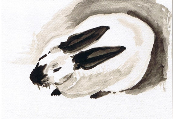 "Original Ink Drawing, Himalayan Rabbit, 5 x 7"" on watercolor paper notecard"