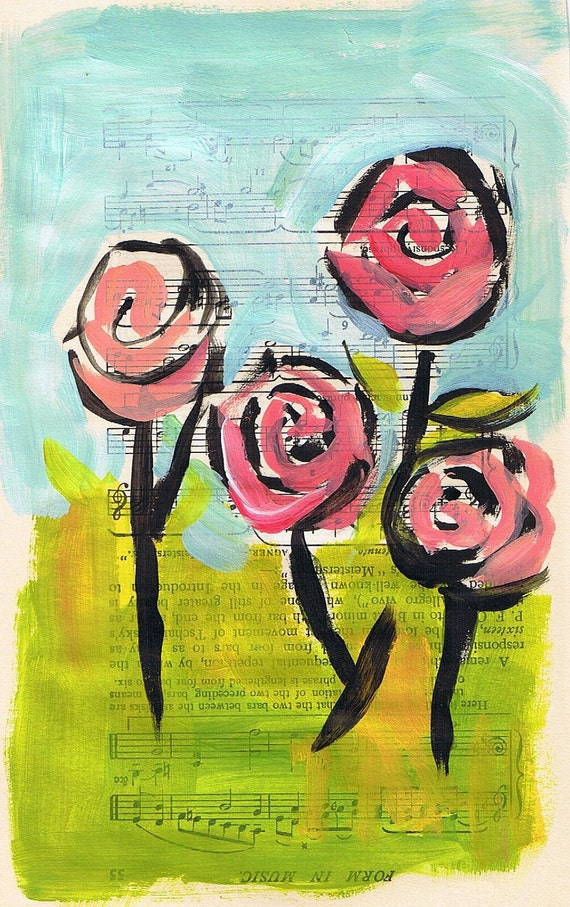 Spring Flowers, Original Painting on Vintage Music Book Page, Pink