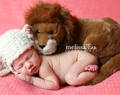 Little lamb hat for spring newborn photos - optional bow or flower