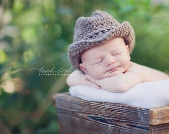 Newborn hat - baby cowboy hat can be molded into fedora or bucket style --- versatile photography prop