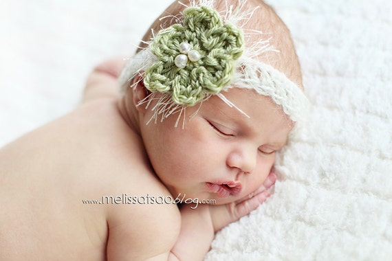 Sage green flower baby headband with delicate fringe and pearly center