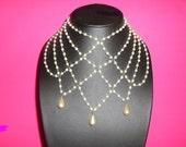 Wedding Necklace, Bridal Necklace, Bridal Pearl drop, Vintage Fashion Necklace