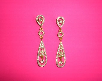 Wedding Earrings, Gold Wedding Earrings, Gold Crystal Earrings, Gold Chandelier Earrings