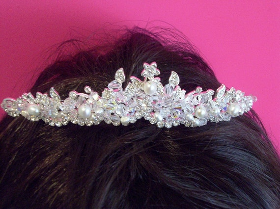 Bridal Crystal Tiara, Tiara Crystal Pearl Bridal, Wedding Tiara Crystal Pearl