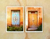 MOROCCAN PHOTOGRAPHY  - photo print set of two - 5x7 - ancient painted doors - floral motives - red walls - travel photography
