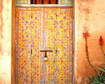 ANCIENT MOROCCAN DOOR - photo print - floral motive - red walls - 8 x 11
