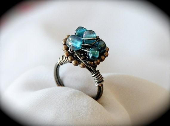 Blueberry Basket - Blue Sea Glass Ring size 6