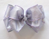 Lavender and Silver Layered Boutique Hair Bow (L052-001)