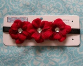 Red Flowers 3-in-a-row on Black Elastic Headband (F05-004-15)