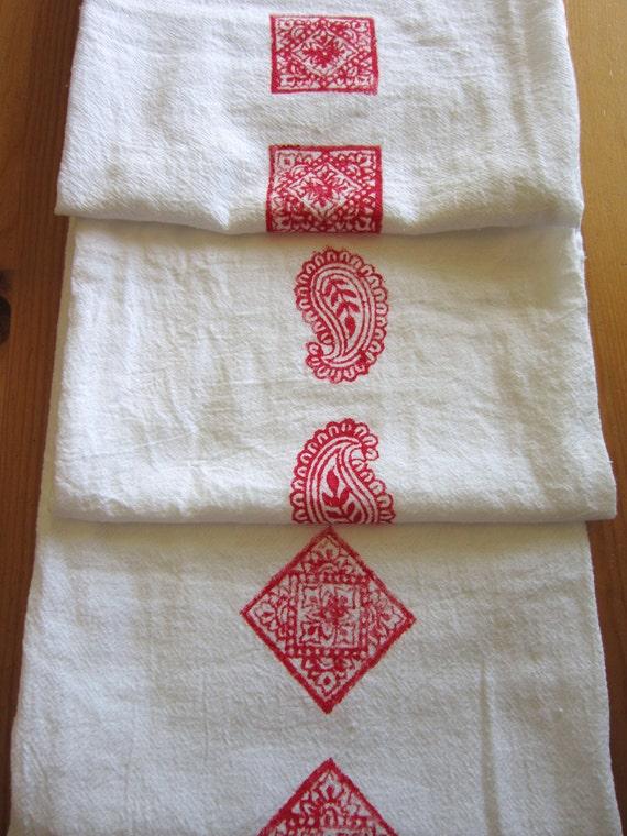SALE 1 red India block print tea towel