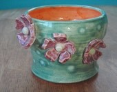 FREE SHIPPING - Small Ceramic Vase - Funky Flower Vase - Pink Ceramic Flowers