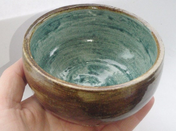 FREE SHIPPING Small Pottery Bowl - Brown & Blue Trinket Dish - Ceramic Bowl