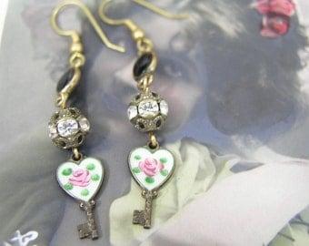 ENAMEL ROSE KEY vintage antique assemblage  earrings