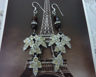 FLIRTY SWINGING DANGLING rhinestones and garnets  vintage assemblage earrings so antique