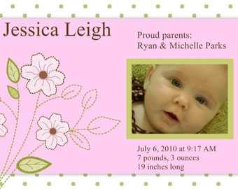 Birth Announcement- Pink dogwood with photo- digital