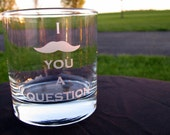 I Mustache You a Question Etched Rocks Glass Tumbler - Set of 2