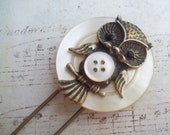 Owl Brooch with Mother of Pearl Shell Buttons