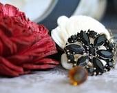 Necklace: Pendant, Black, Floral, Amber, Charm, Vintage-Inspired, Antique Brass